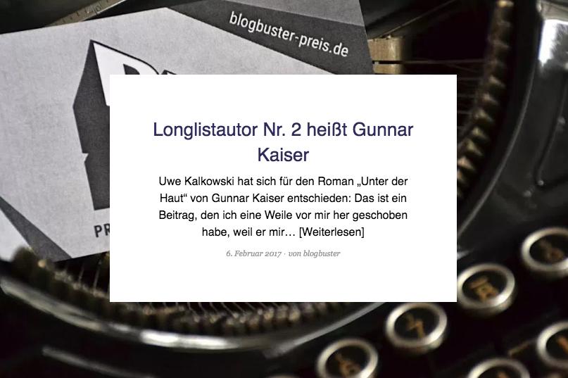 """""""Unter der Haut"""" auf der Blogbuster-Preis-Longlist"""