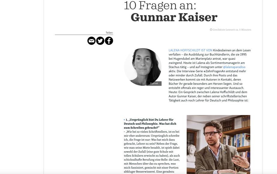 10 Fragen an GunnarKaiser